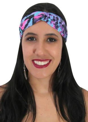 Turbante feminino estampa animal print onça colorida