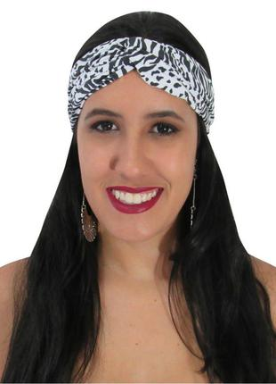 Turbante feminino estampa animal print zebra