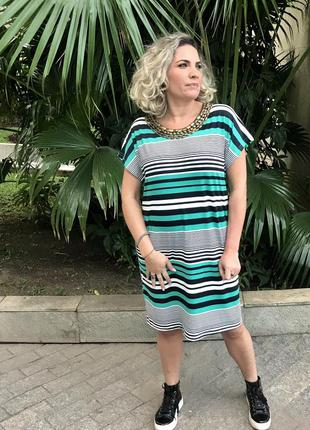 Vestido plus size green stripes