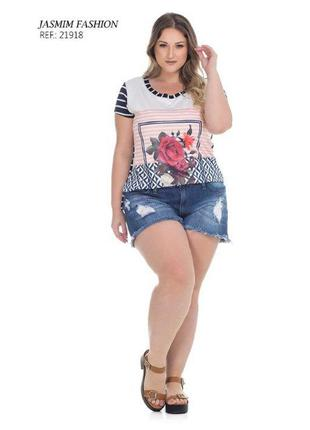 Blusa plus size com mix de estampas