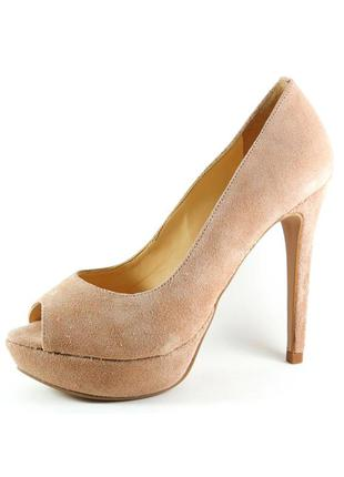 Peep toe infinity shoes meia pata nude